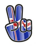 Hippy Style PEACE Hand With Iceland Icelandic Country Flag Motif External Vinyl Car Sticker 90x65mm
